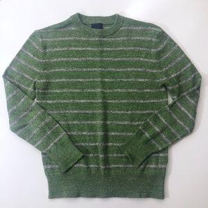 Boys Gap Green Gray Stripe Crew Neck Sweater M (8)